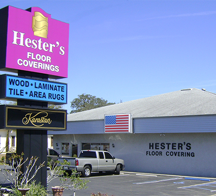 Hester's Floorcoverings showroom carries high quality selections of hardwood, carpet, tile, stone, laminate, vinyl and area rugs
