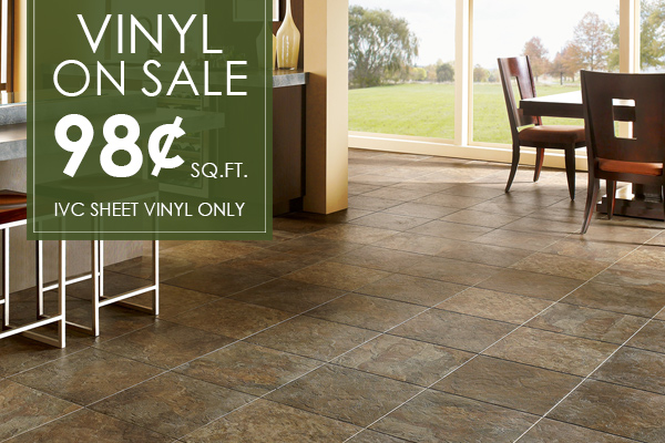 IVC Sheet Vinyl on sale now, starting at only 98 Cents per Sq. Ft.! Come see amazing selections at our showroom in St. Augustine, Florida!